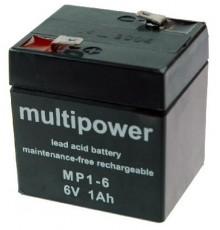 Olověná baterie - bezúdržbový akumulátor 6V - 1.0Ah - Multipower MP1-6