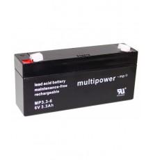 Olověná baterie - bezúdržbový akumulátor 6V - 3.3Ah - Multipower MP3.3-6