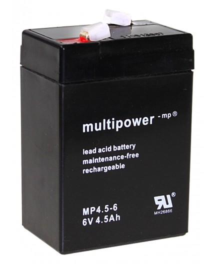 Olověná baterie - bezúdržbový akumulátor pro svítilny 6V - 4.5Ah - Multipower - MP4.5-6