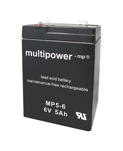 Olověná baterie - bezúdržbový akumulátor pro svítilny 6V, 5.0Ah - Multipower - MP5-6