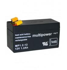 Olověná baterie - bezúdržbový akumulátor 12V - 1.2Ah - Multipower - MP1.2-12