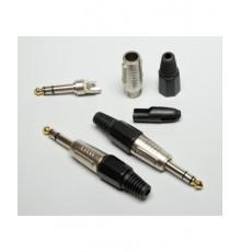 Jack 6.3mm konek., stereo, kovový - nikl, typ NEU.