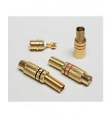CINCH zdířka, kabelová, zlacená - 5.6mm, červená