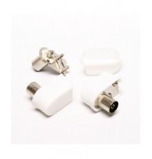 Anténní zdířka, IEC, úhlová, plast, šroubovací
