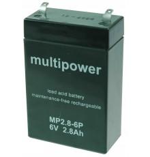 Olověná baterie - bezúdržbový akumulátor 6V, 2.8Ah - Multipower - MP 2.8-6P