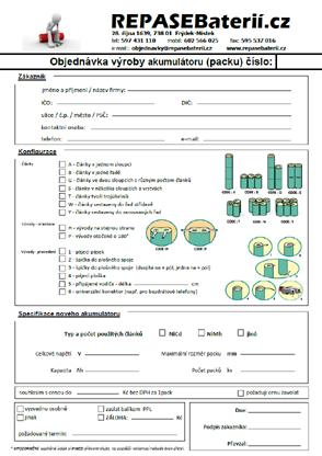 Formulář pro objednávku výroby akumulátorů